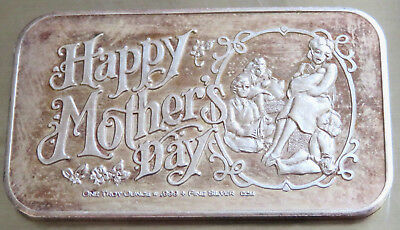 Ccm-10 Mother's Day Art Bar 1982 Crown Mint Toned .999 Fine Silver 1 Troy Oz