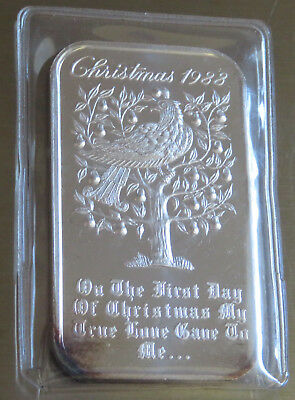 Mad-309 Christmas 1988 Partridge True Love Art Bar 1St Day .999 Silver 1 Troy Oz