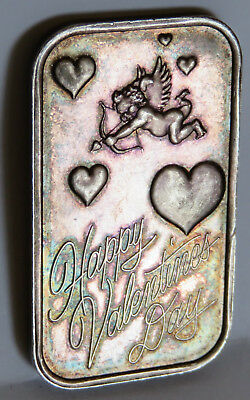 "Valentines Day Engraved ""patricia"" Art Bar .999 Fine Silver Toned 1992 1 Troy Oz"