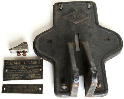 Antique A.g. Manufacturing Electric Industrial Design Switch Bracket Cast Iron