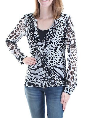 3306ead64577cc INC  60 Womens New 1230 Black Animal Print With Cami Long Sleeve Top S B+