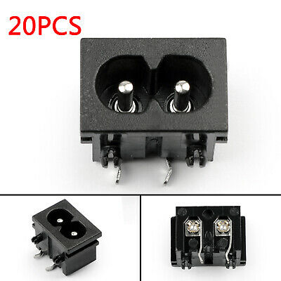 20xIEC320 C8 2 Pin Male Power Socket With Switch 2.5A 250V Pour Boat AC-20BW AF