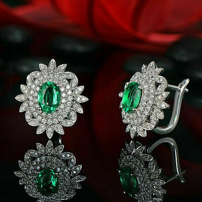 2.00 Ct Oval Green Diamond Antique Double Halo Stud Earrings 14K White gold Over