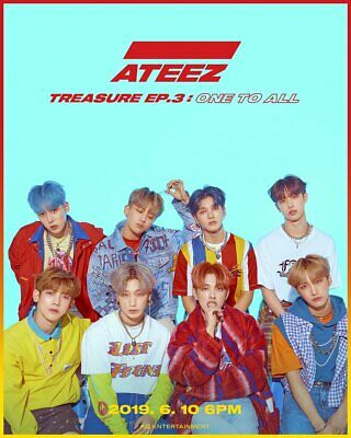 ATEEZ TREASURE EP.3:ONE TO ALL 3rd Mini Album CD+Book+Sticker+Poster+11Card+GIFT