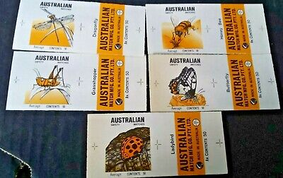 SET OF 5 AUSTRALIAN INSECT MATCH BOX LABELS, 1970s Unused lot 3