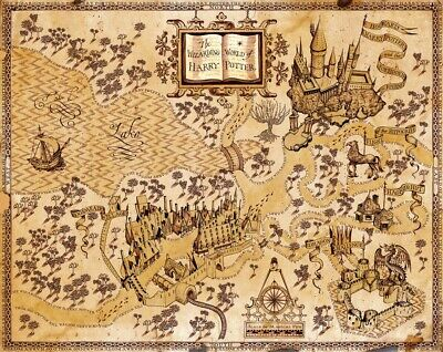 "Harry Potter Wizarding World Map Silk Cloth Poster 16x13"" 28x24"" Decor 02"