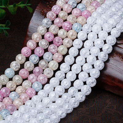 4-12MM White Multicolor Snow Cracked Beads Loose Quartz DIY Jewelry Making Craft