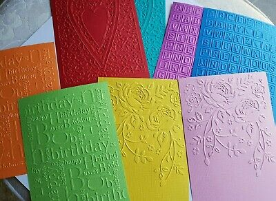 "Embossed Cardstock  8 Pieces 4 Designs, 8 Colours 4 x 6"" (10 x 15cm)"