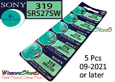 5 pcs Sony SR527SW 319 1.55V cell coin button battery Made in Japan 09-2021