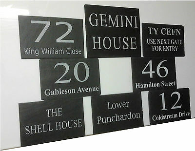 Slate House Signs, Door plaques,  gate plates,  Any numbers, names, notices made