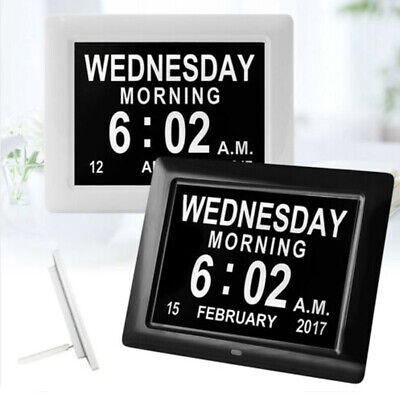 Black White LED Dementia Digital Calendar Clock Large Letter Day/Week/Month/Year