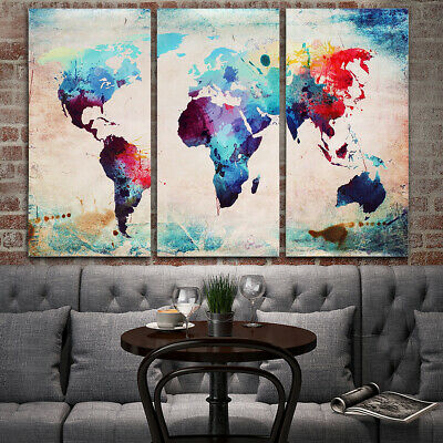 Colourful Art Retro World Map Canvas Prints Painting Wall Display Decor Unframe
