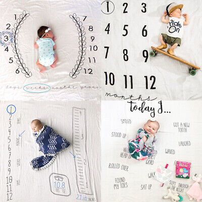 Newborn Baby Monthly Growth Milestone Blanket Letter Prop Photography Background