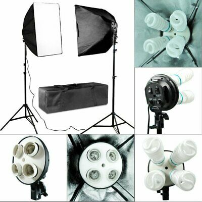 2x Photo Studio Video Continuous Lighting Kit Photography Softbox Light Stand TO