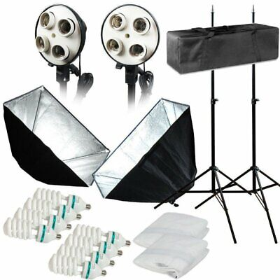 Photo Studio Photography 2 Softbox Light Stand Continuous Lighting Kit 1600W TO