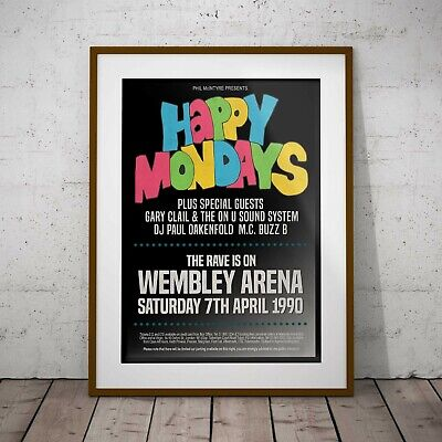 Happy Mondays 1990 Early Concert Poster Framed or 3 Print Options NEW EXCLUSIVE