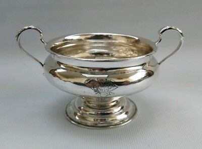 Vtg 1898 William Hutton & Sons Art Nouveau Twin Handled Solid Silver Sugar Bowl