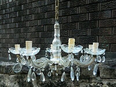 Vintage Antique Retro Glamour 8 arm Glass Chandelier