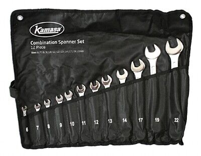 Kamasa Offer Metric Combination Spanner Wrench Set 6-22mm 12 Pce In Tool Roll
