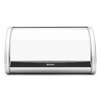 Brabantia Roll Top Lid Bread Bin Storage Compact Flat Top Medium Brilliant Steel