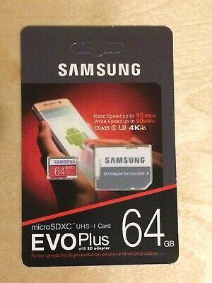 Samsung Memory 64GB EVO Plus Micro SD card with Adapter read speed up to 95mb/s