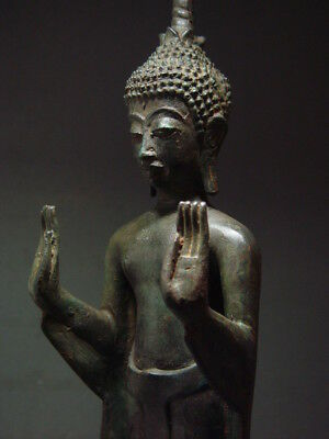 Antique Bronze Standing Lao Buddha Figure. Temple Relic. Laotian Art