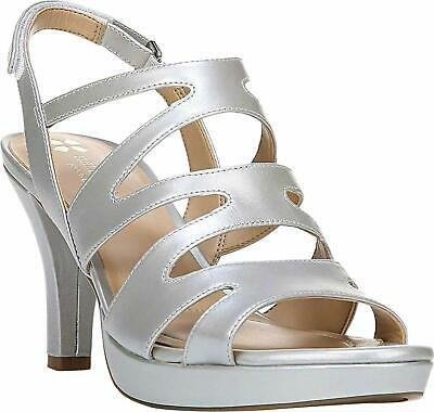 3a1a54726cbe Naturalizer Pressley Womens Heeled Sandals Soft Silver Pearlized Leather  8.5 US