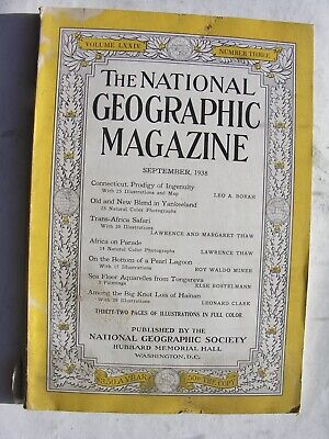 NATIONAL GEOGRAPHIC September 1938 Connecticut Li People Hainan Tongareva Africa
