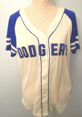 be22de7dadb53 NEW VICTORIA SECRET PINK MLB Los Angeles Dodgers white button down jersey  Large