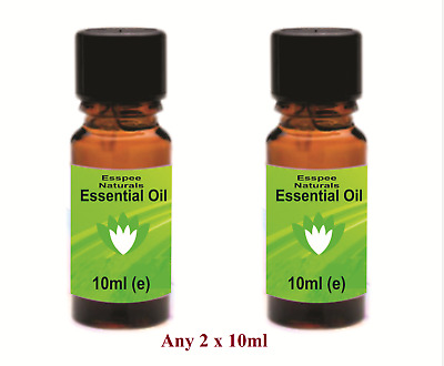 Any 2 x 10ml ESSENTIAL OILs - 100% Pure - for Aromatherapy, Home Fragrances etc.