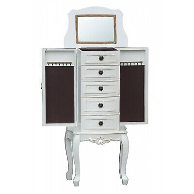 Shabby Chic Antique White French Country Jewellery Armoire Vanity Cabinet Stand