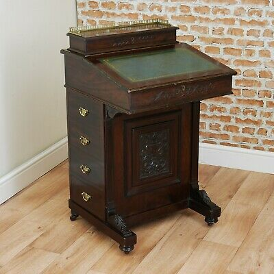 Antique Edwardian Mahogany Davenport Writing Desk Bureau Original W/Keys C1900