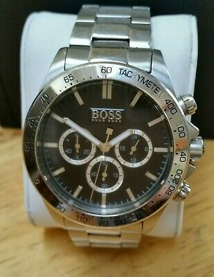 Men s Hugo Boss Chronograph Watch Black Face And Silver Dial Stainless  Steel. 1e39d99c6e