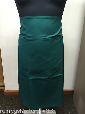 New Green Long Waist Apron With Front Patch Pocket Restaurant Cooking Baking