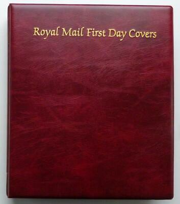 ROYAL MAIL Padded Burgundy First Day Covers Album + 15 x 4 Pockets Insert Leaves
