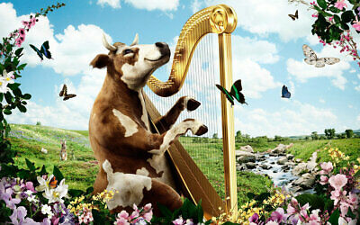 Art Wall Home Deco Animal Cows Playing Harp Oil Painting Picture Print On Canvas