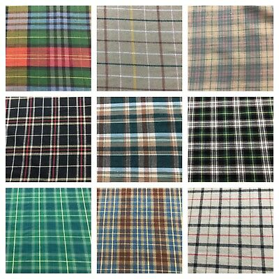 Tartan Check 100% Cotton Fabric 120GSM 150CM Wide Shirt Jacket Lining Dress UK