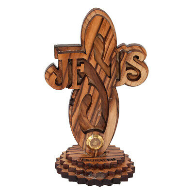 Religion Cross Olive Wood Сarved Jesus with Base from Bethlehem Handmade 4.3""
