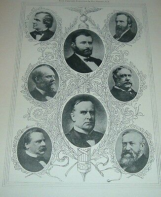1899 Antique Print PRESIDENTS OF UNITED STATES 1865-1904 Andrew Johnson Garfield
