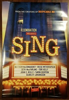 SING Original Movie Poster 27x40 2-Sided Authentic Teaser Version