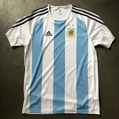 53eaec38d Men s Adidas Argentina National Team World Cup Olympic Soccer Jersey Kit Sz  M