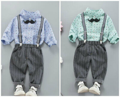 2pcs baby Boys outfits shirt+bowtie+pants kids wedding party tuxedo overall set