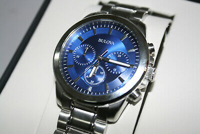 Bulova Chronograph Blue Dial Silver Tone Stainless Steel Men's Watch 96A178