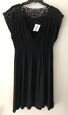 6f3d6e82adbc TJ MAXX SOPRANO Womens Tunic Dress Short Sleeve Black Size L NEW ...