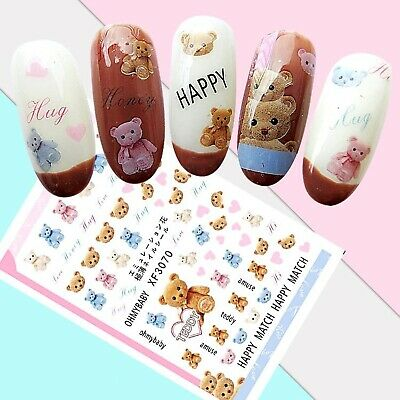 Nail Art Stickers Transfers 3D Self Adhesive Happy Teddy Bears (XF3070)