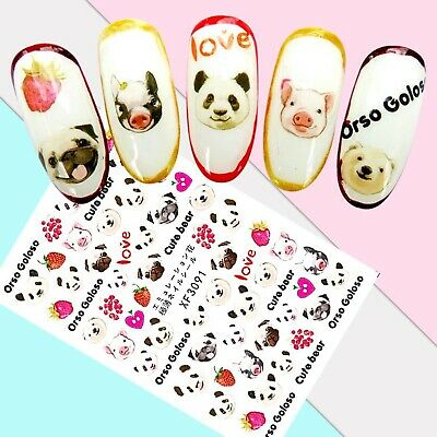 Nail Art Stickers Transfers 3D Self Adhesive Bears Pugs Pigs (XF3091)