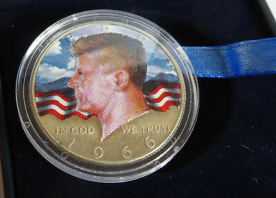 1966 President John Kennedy Half Dollar Colorized Coin In Box