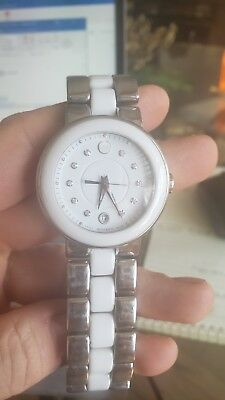 4047f31d1 Movado Cerena White Dial Diamond Steel and Ceramic Ladies Watch $995 Retail