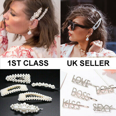 Pearl Hair Clip Slide Hair Pin Bridal Hair Accessory Chunky UK SELLER