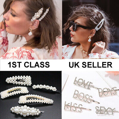 Pearl Word Letters Hair Clip Slide Hair Pin Barrette Bridal Hair Accessory UK